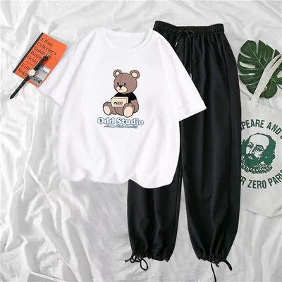 单/套装2021夏季新款时尚休闲阔腿裤韩版宽松印花短袖t恤女两件套