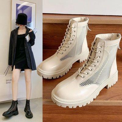 时装凉靴2021年新款夏季爆款百搭马丁靴ins潮短筒网纱镂空女凉鞋