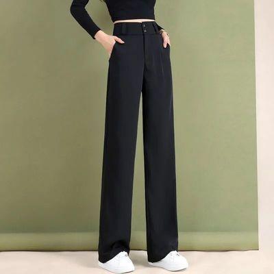 阔腿裤女高腰垂感春夏西装裤直筒宽松显瘦2021黑色垂坠感拖地裤子