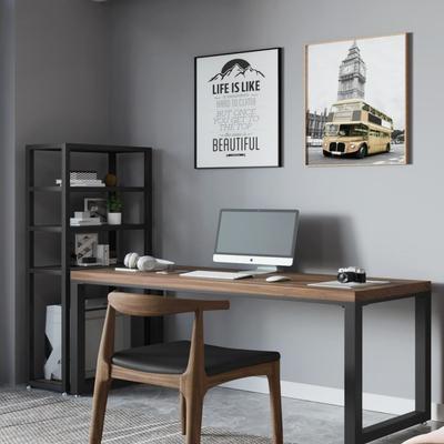 loft实木书桌书架组合家用台式电脑桌带收纳书架实木办公桌置物架