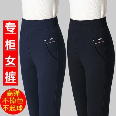 裤子女春夏2021新款高腰弹力休闲裤女修身显瘦中年女裤直筒妈妈裤