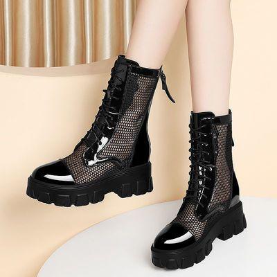 网纱马丁靴女夏季靴子2021新款春秋薄款内增高鞋镂空短靴凉靴