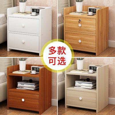 床头柜简约现代简易置物架北欧仿实木卧室床边收纳迷你小型柜子
