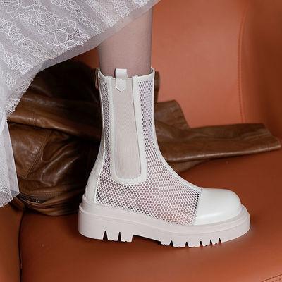 夏季短靴网靴凉靴夏天马丁靴2021新款网纱切尔西靴子网红潮流爆款