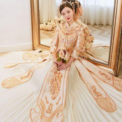 金色秀禾服2021新款中式婚纱结婚新娘礼服凤冠霞帔龙凤褂显瘦