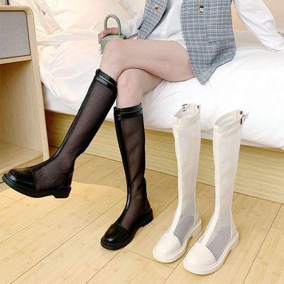 长筒马丁靴夏季薄款女2021新款百搭镂空凉靴网纱瘦瘦单靴ins长靴