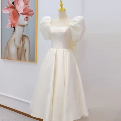 法式轻婚纱简约大气公主风2021新款生日派对连衣裙登记领证小礼服