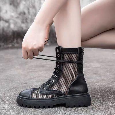 网纱马丁靴女夏季薄款透气网靴镂空真皮网眼凉靴百搭厚底网面短靴