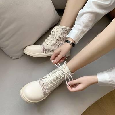 网纱内增高马丁靴女夏季薄款透气百搭2021年新款网红靴真皮短靴子