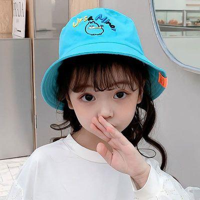 新款儿童渔夫帽女春秋宝宝夏季遮阳防晒盆帽男孩刺绣小狗太阳帽潮