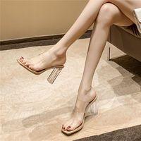 透明高跟鞋拖鞋女外穿2021新款百搭水晶跟性感仙女风凉鞋中跟粗跟
