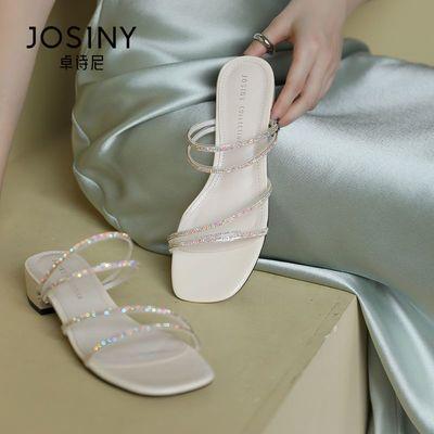 卓诗尼2021夏新款简约时装凉鞋时尚百搭性感细带低跟套脚凉拖鞋