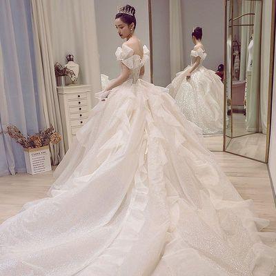 星空主婚纱2021新款新娘气质简约一字肩长拖尾森系超仙梦幻小个子