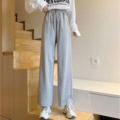 2021新款灰色休闲阔腿裤女学生韩版潮流宽松百搭显瘦直筒运动卫裤