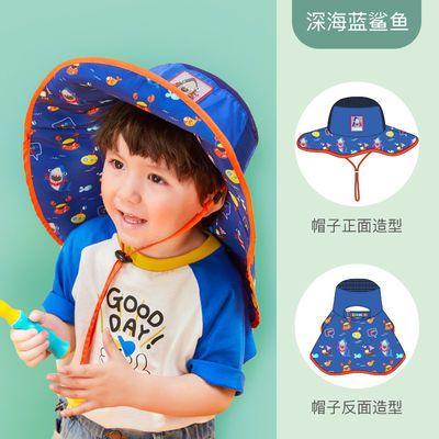 儿童户外防晒渔夫帽春夏新款男女宝宝出游遮阳防紫外线卡通帽子潮