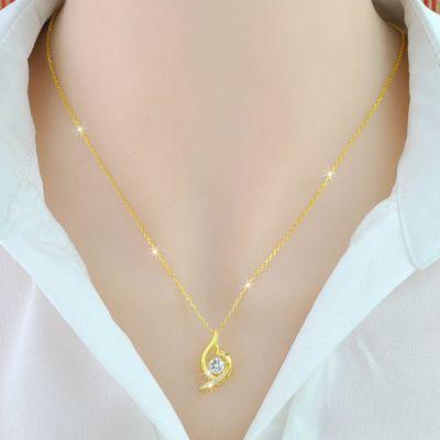 周六福925纯银项链镀999黄金项链锁骨链女18K玫瑰金项链18K黄金项