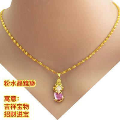 週六福新款老凤样沙金项链坠女款首饰黄金色链子貔貅时尚吊坠送女