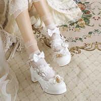 日系甜美蝴蝶结白色原创Lolita仙女鞋时尚粗中跟浅口大码软妹单鞋