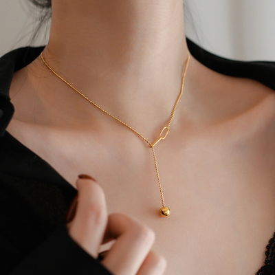 周六福18K黄金色项链流苏拼接可调节小球项链女短款锁骨链小众