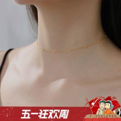 周六福短款颈链925纯银项链银链子超细镀18K黄金玫瑰金彩金链