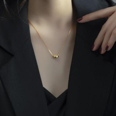 周六福纯银项链女轻奢小众黄金色豆豆新款潮简约气质冷淡风锁骨链