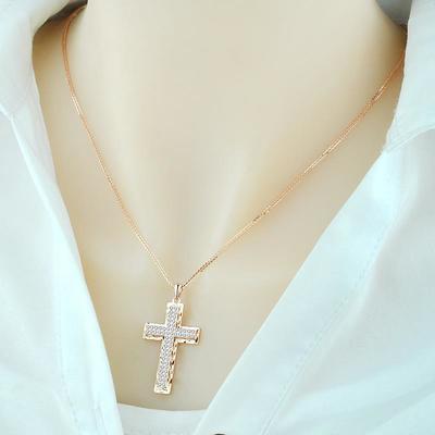 周六福925纯银镀18k黄金玫瑰金十字架项链女气质日韩银饰送女友