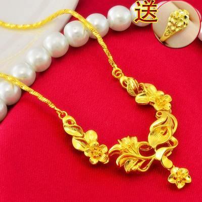 周六福女士真金项链玫瑰花转运珠真黄金色金项坠套链锁骨链送戒指