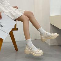 白色玛丽珍小皮鞋女ins潮2021夏新款百搭韩版复古配裙子日系单鞋