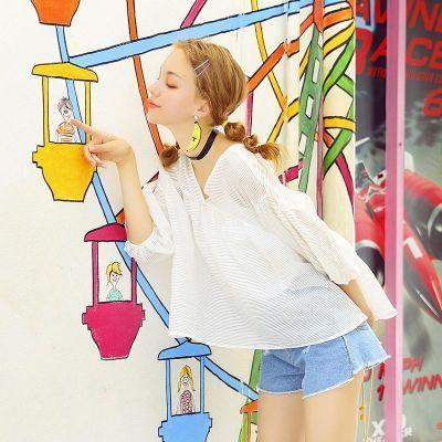 夏季韩版女学生灯笼袖透视宽松蓬蓬ulzzang娃娃衫仙上衣白色罩衫