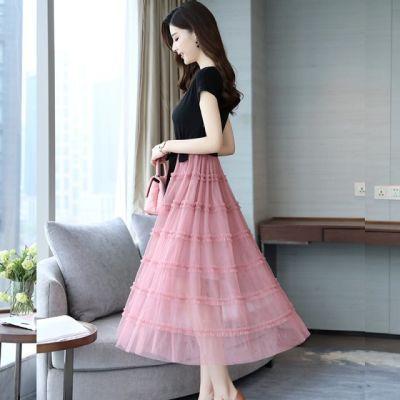 【尚维洛】网纱连衣裙女夏新款中长款韩版气质修身显瘦收腰裙子女