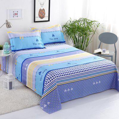 公主格子床单学生宿舍舒适便携式佩奇条纹公主风单件水洗棉床单动