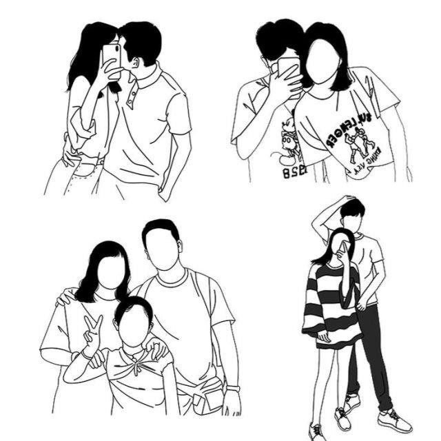 手绘头像q版情侣黑白线条简笔画卡通人物真人照片转手绘纹身