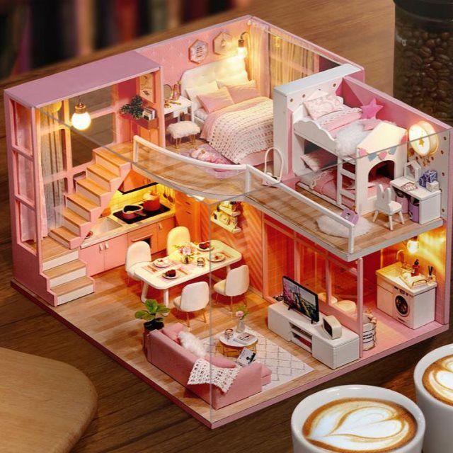 迷你diy小屋手工制作小房间家具模型屋拼接带小家具别墅公主房