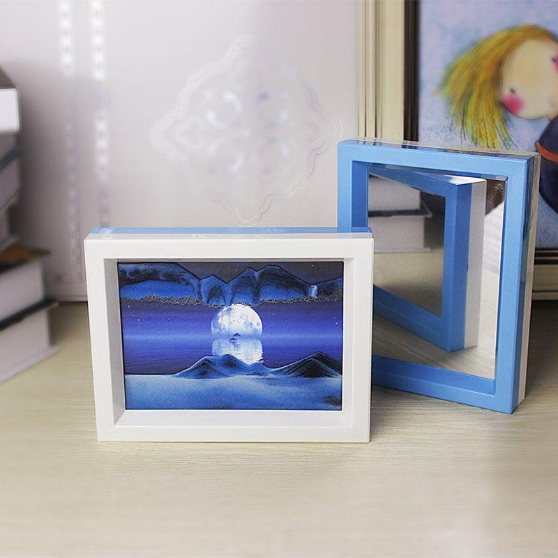 3d流沙画摆件梦幻创意玻璃装饰品生日礼物动态艺术摆设沙漏工艺品