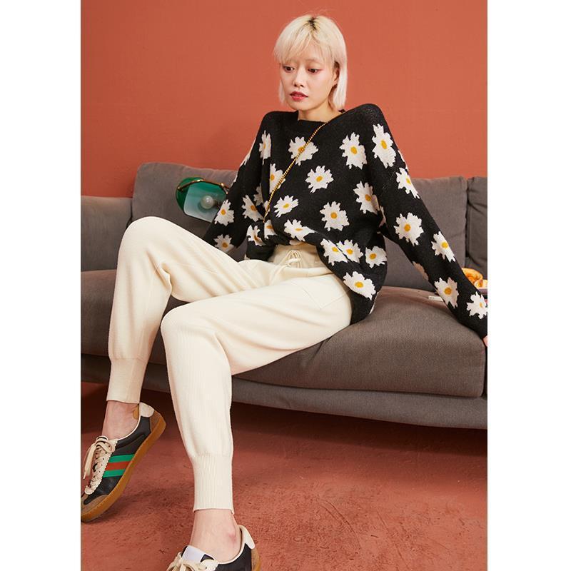 75671-春季新款束脚女高腰裤子弹力针织宽松显瘦小个子哈伦奶奶裤-详情图