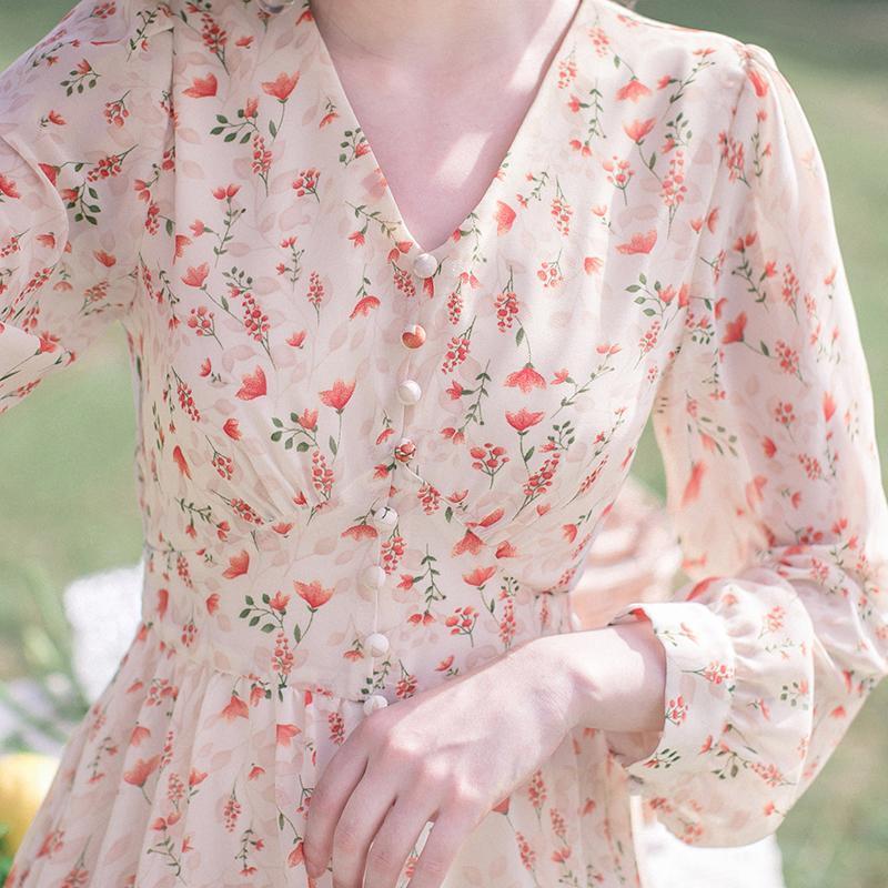88612-春秋2021年新款女法式复古气质长裙收腰显瘦碎花桔梗裙仙女连衣裙-详情图