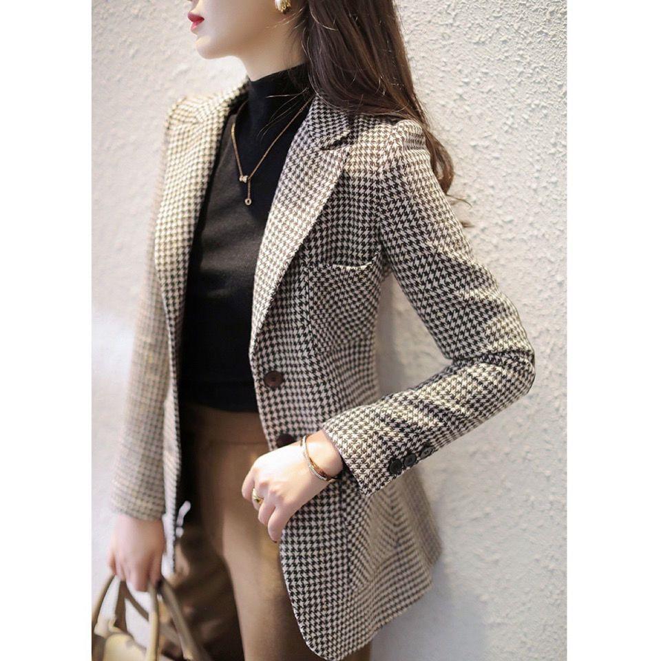 75639-格子小西装外套女士2021春季新款修身显瘦千鸟格百搭气质西服上衣-详情图