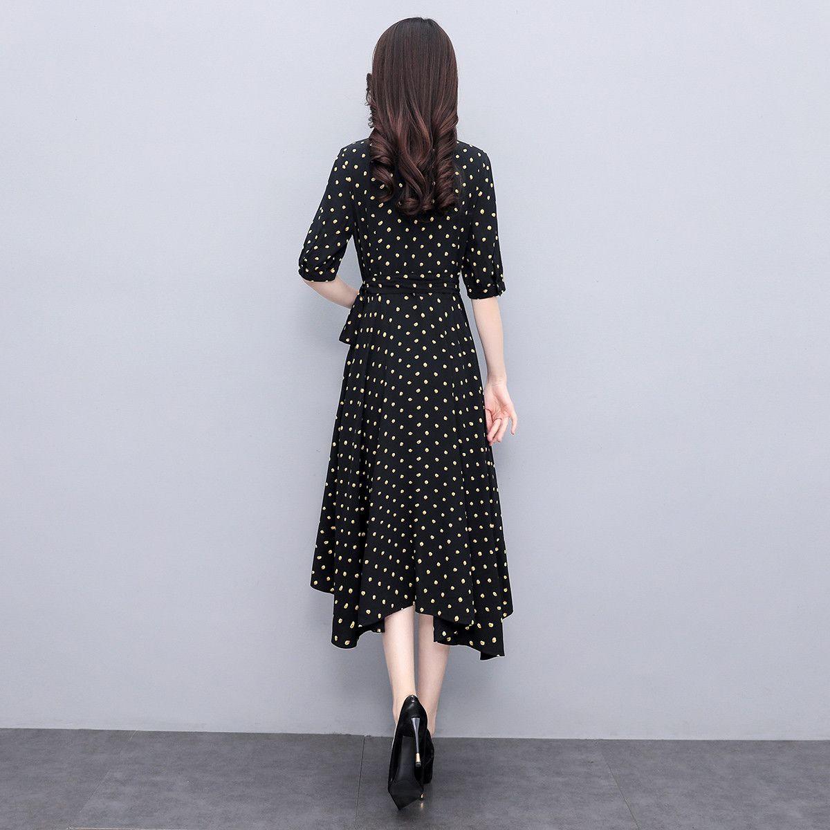 75770-丝柏舍2021秋季新款圆点淑女修身时尚气质优雅小清新女士连衣裙H-详情图