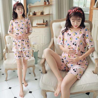 夏季薄款月子服产后外出哺乳衣短袖孕妇睡衣怀孕期哺乳孕妇套装