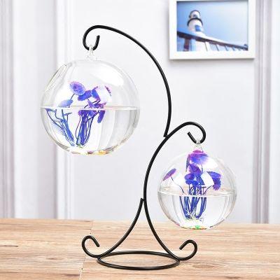 创意铁艺悬挂水培小鱼缸绿萝铜钱草植物玻璃花瓶花盆客厅装饰摆件