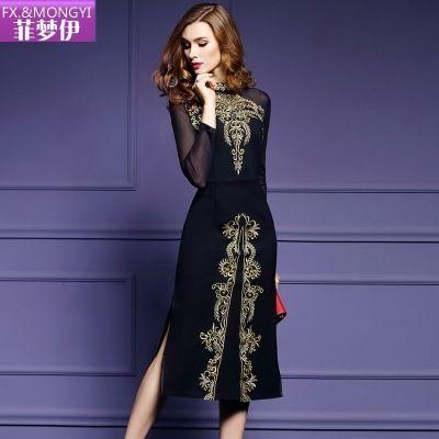2018秋装新款网纱长袖刺绣修身中长款性感开叉连衣裙S-3XL