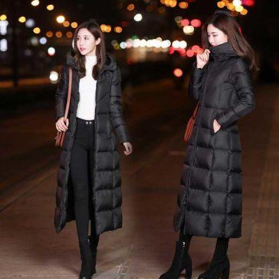 冬季韩版长款羽绒棉服修身过膝长棉袄女士加厚棉衣学生连帽棉外套