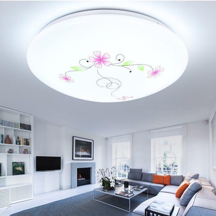 廚房燈平板罩外殼圓形泡led客廳水晶聲控感應子吸頂風扇氛圍家