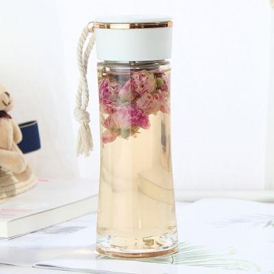 韩版卡通玻璃杯女茶隔花茶杯创意便携学生水杯子带绳喝水杯