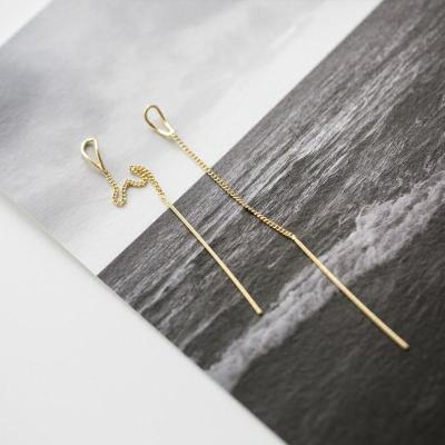 s925纯银日韩国欧美极简小巧线条水滴形穿插耳环耳线女长款耳饰品