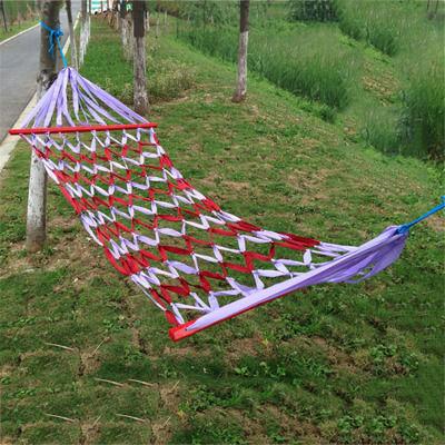 网状带木棍吊床户外室内外帆布彩虹条渔网秋千树床 送绑绳包邮