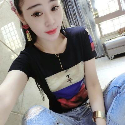 【95棉】夏新款学生短袖T恤女修身圆领半袖体恤衫上衣夏装打底衫