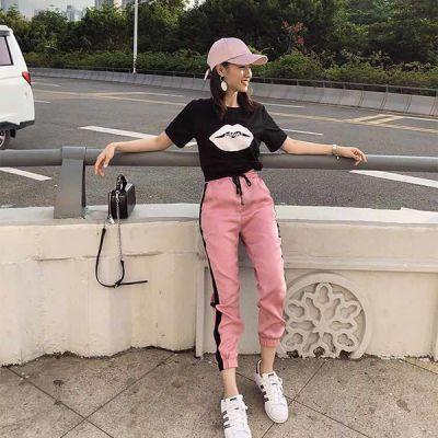 【2色可选】夏季休闲运动套装女韩版学生t恤+九分女哈伦裤两件套