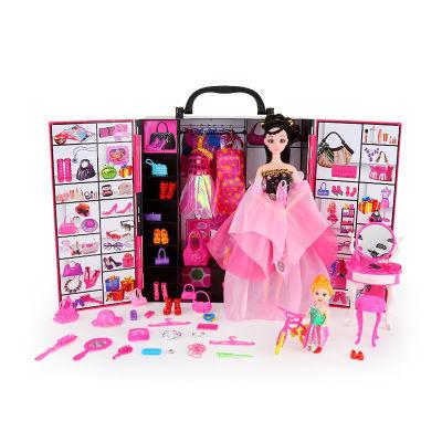 芭比娃娃衣柜叶罗丽梦幻衣橱女孩生日礼物公主换装婚纱手提礼盒