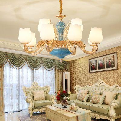 客厅欧式现代简约吊灯家用卧室锌合金陶瓷水晶灯具大气简欧餐厅灯